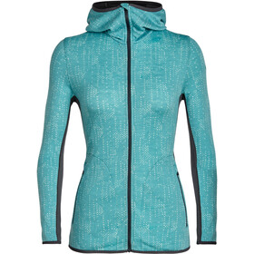 Icebreaker Away Showers LS Zip Hood Dame ocean/monsoon